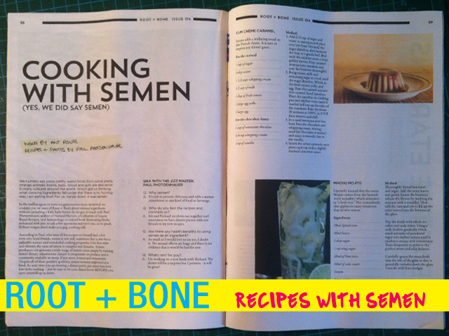 root and bone cooking with semen - semen recipes