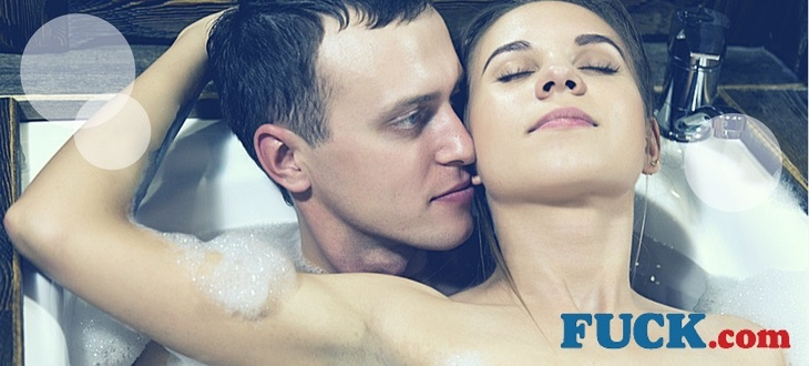 Attractive couple in the bath.  Fuck.com