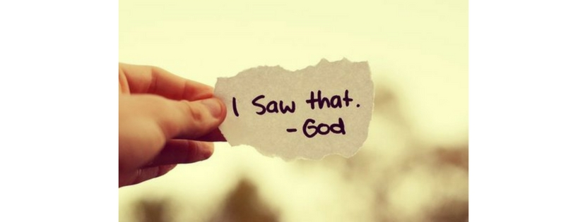 Piece of paper with 'I saw that - God' written on it.  Fuck.com