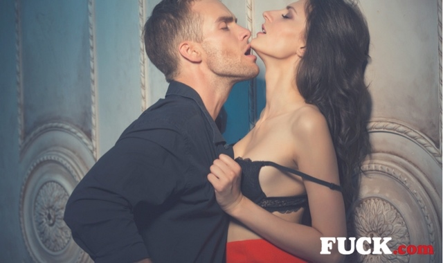 Man and Woman in passionate embrace.  Fuck.com.