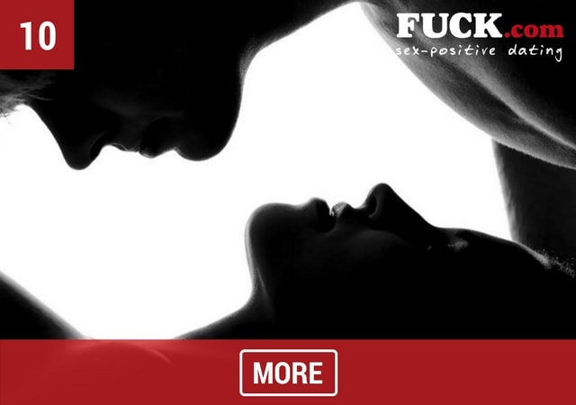 Black & white silhouettes of a couple about to kiss. Fuck.com