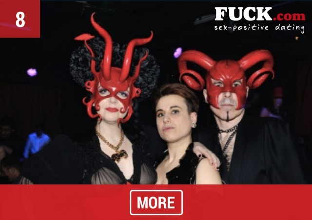 3 people at a Subversion party wearing fetish clothing and masks. Fuck.com