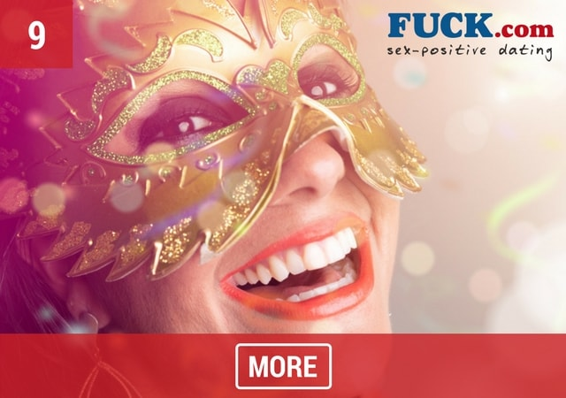 Brunette woman wearing a carnival mask. Fuck.com