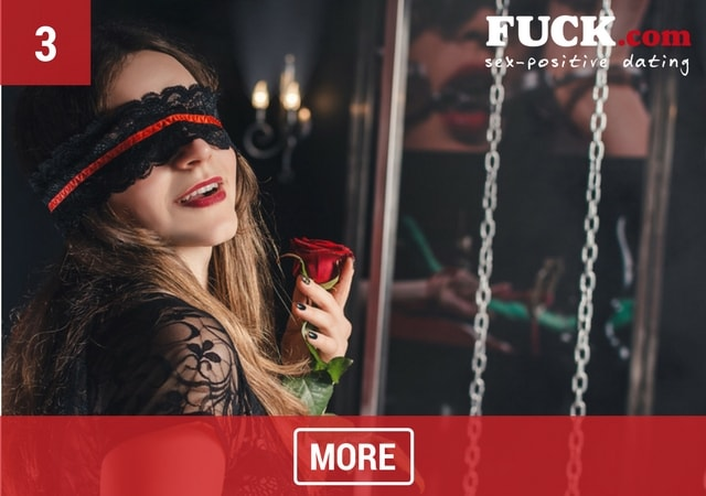 Sexy woman with blindfold in a fetish sex party. Fuck.com